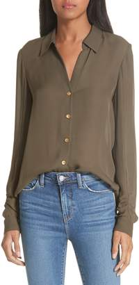 L'Agence Fiona Shirred Sleeve Silk Blouse