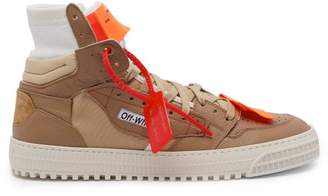 Off-white - Low 3.0 Leather And Canvas Trainers - Mens - Brown