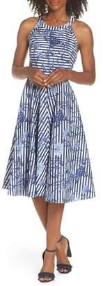 Eliza J Floral Stripe Halter Fit & Flare Poplin Dress