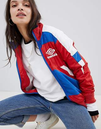 Umbro Retro Sporty Zip Front Tracksuit Jacket With Colour Block