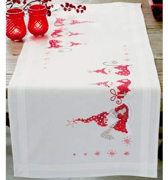 """Vervaco Table Runner Stamped Embroidery Kit 16""""X40""""-Gnomes Christmas"""