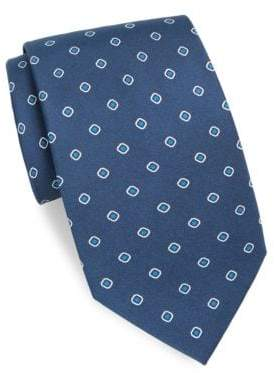 Brioni Dot & Square Printed Silk Tie