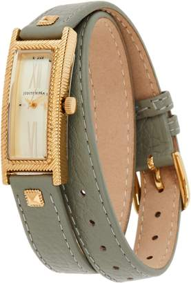 Judith Ripka Stainless Steel Goldtone Leather Wrap Westport Watch
