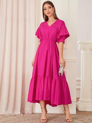 Shein Hot Pink Lace-up Corset Waist Pep Hem Dress