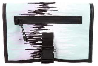 Versus Leather-Trimmed Printed Clutch