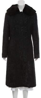 Cinzia Rocca Fur-Trimmed Brocade Coat