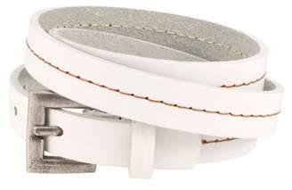 Napoli Leather Piercing Pros Triple Wrap Thin Slit Closure Unisex Leather Bracelet, WHITE, WHT1
