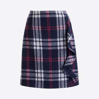 J.Crew Factory Ruffle-front mini skirt in double-serge wool