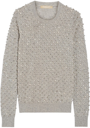 Michael Kors Collection - Crystal-embellished Cashmere Sweater - Gray $1,350 thestylecure.com