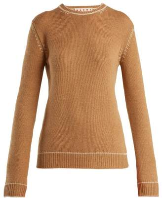 Marni Contrasting Jacquard Cashmere Sweater - Womens - Beige