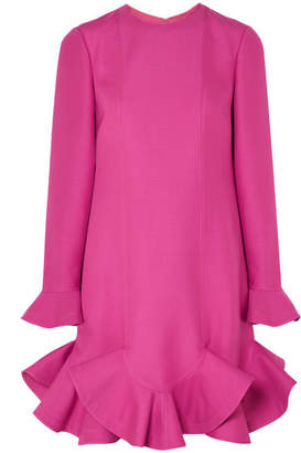 Valentino Ruffled Wool And Silk-blend Mini Dress - Fuchsia