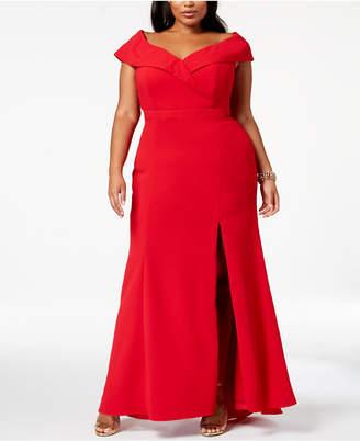 Xscape Evenings Plus Size Off-The-Shoulder Slit Gown