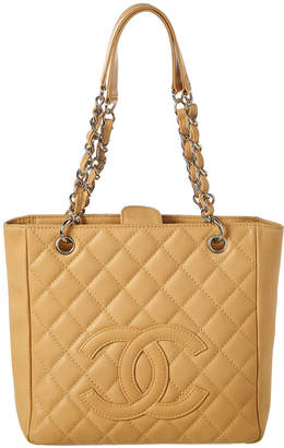 Chanel Beige Quilted Caviar Leather Petite Shopping Tote