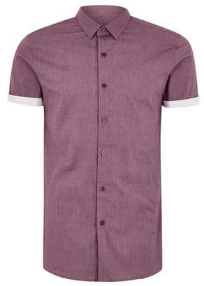 Topman Mens Red Burgundy Turn Up Short Sleeve Shirt