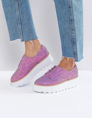 Asos DESIGN MISFIT Chunky Glitter Flat Shoes