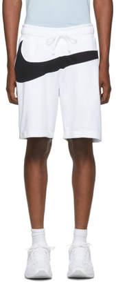 Nike White and Black Swoosh Shorts