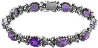 FINE JEWELRY Genuine Amethyst Oxidized Sterling Silver Tennis Bracelet
