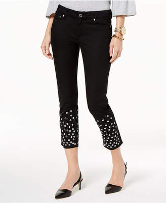 Michael Kors MICHAEL Embellished-Cuff Cropped Jeans