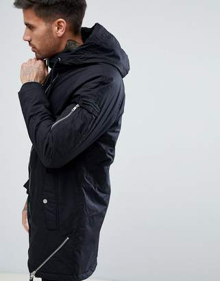 Bershka Hooded Parka In Black