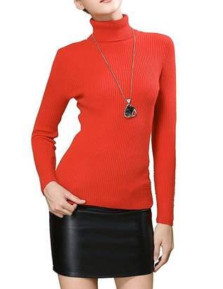 Fengtre Turtleneck Pullover Sweater, Women's Cashmere Stretchy Basic Knit Top,Bright Orange L