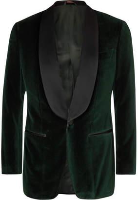 Thom Sweeney Dark-Green Slim-Fit Satin-Trimmed Cotton-Velvet Tuxedo Jacket