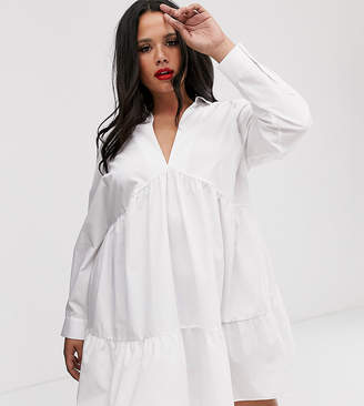 Asos DESIGN Curve tiered collared cotton smock mini dress with long sleeves