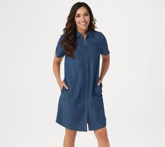 Denim & Co. Button Front Short-Sleeve Shirt Dress