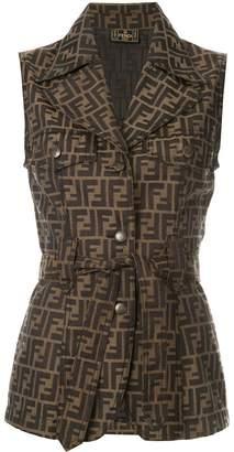 Fendi Pre-Owned logo tied sleeveless jacket