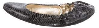 Jimmy Choo Python Cap-Toe Flats Black Python Cap-Toe Flats