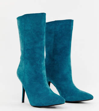 e1c8929c67c2 PrettyLittleThing faux suede high heeled ankle boot in teal