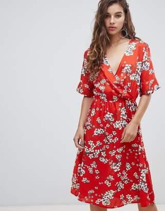 JDY short sleeve floral wrap dress