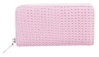 Christian Dior Woven Leather Zip Wallet