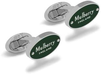 Mulberry Oval Plaque Cufflink Racing Green Enamel Coated Brass