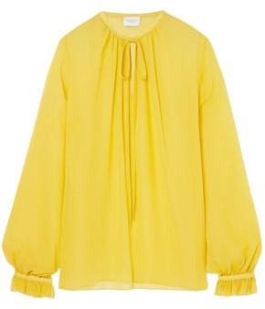 Giambattista Valli Gathered Silk-Georgette Blouse