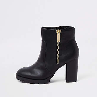 River Island Black chunky side zip block heel ankle boots