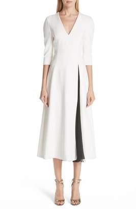 Carolina Herrera Contrast Slit Cocktail Dress