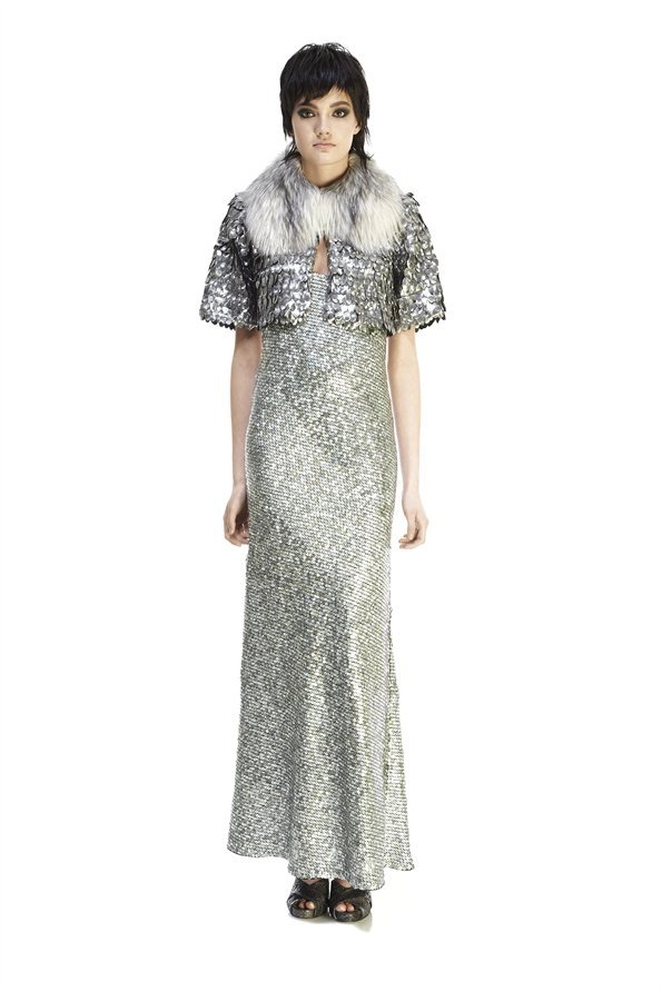 Marc Jacobs Owl Sequins Bed Jacket with Fox Fur Collar