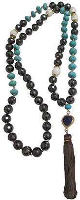 "Chan Luu Semi Precious Hematite and Stone Long 34"" Tassel Necklace"