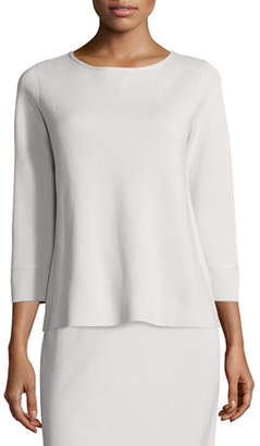 Eileen Fisher 3/4-Sleeve Silk/Cotton Interlock Box Top, Petite