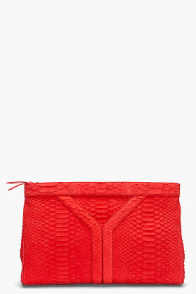 YVES SAINT-LAURENT Snake Suede Y Clutch