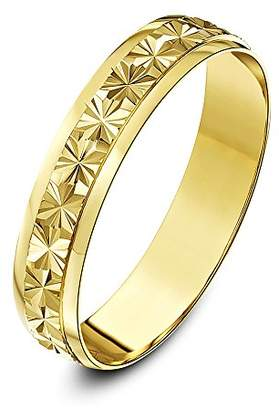 Theia 9ct Yellow Gold Heavy Weight - Star Centre Design D-Shape 4mm Wedding Ring - Size J