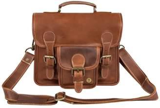 Mahi Leather Mini Leather Harvard Satchel Messenger Bag Handbag Clutch Bag In Vintage Brown