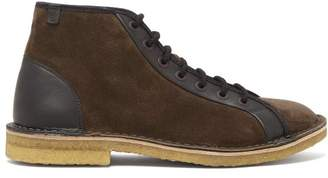 Lanvin Suede Lace Up Boots - Mens - Black