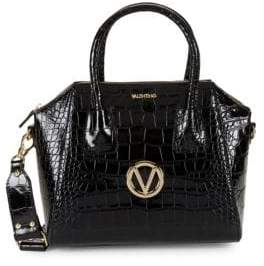 Mario Valentino Mini Croco-Embossed Leather Convertible Satchel
