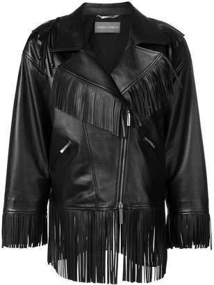 Alberta Ferretti oversized fringe trim biker jacket