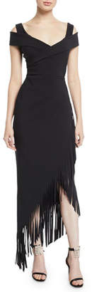Chiara Boni Rhoda Asymmetric Fringe Cold-Shoulder Dress