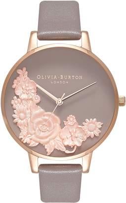 Olivia Burton Floral Bouquet Leather Strap Watch, 38mm