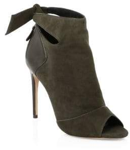 Alexandre Birman Tory Suede& Leather Open Toe Booties