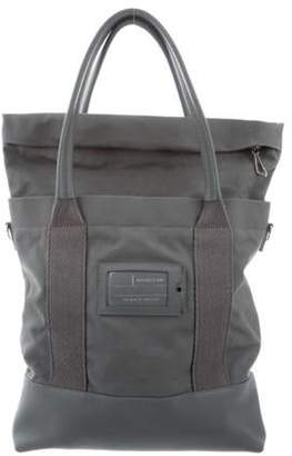 Balenciaga Leather-Trimmed Canvas Tote grey Leather-Trimmed Canvas Tote