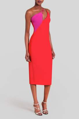 Cushnie Poppy Demi Twisted Neckline Dress